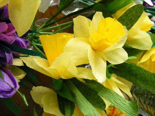 żonkile #żonkile #kwiaty #bibuła