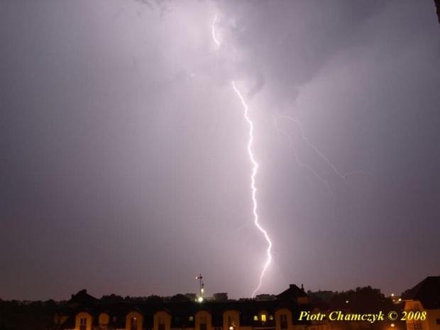 Burza nad Piłą - 22.06.2008 #burza #piorun #błyskawica #Piła #lato
