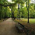 Łazienki Królewskie #liście #ławka #ParkJesienią #alejka