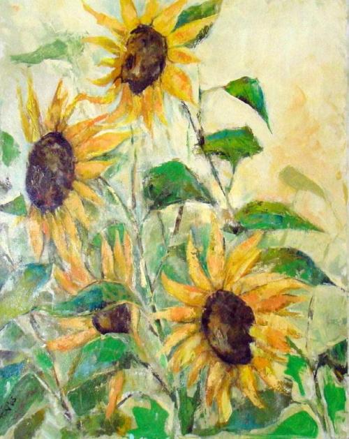 słoneczniki olej 70-90 #słoneczniki #kwiaty #malarstwo