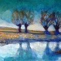 obraz 40-50 wierzby #wierzby #rzeka #malarstwo