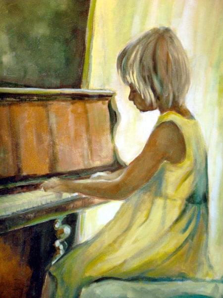 obraz 60-80 grająca na pianinie #sztuka #malarstwo #obraz
