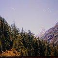 12.07.1998 Matterhorn ( 4478m ) z drogi spacerowej. Matterhorn ( 4478m ) from walking path. #ścieżka