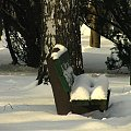 w parku #zima #śnieg #słońce #park #ławka