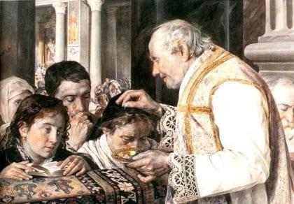 Na załączonej reprodukcji: grafika przedstawiająca posypanie popiołem w XIX-wiecznych Włoszech. Julian Fałat, Popielec, 1881.