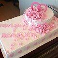 2 tort weselny z mojej pracy ,dla Joasi i Marka #tort #różowy #obrączki