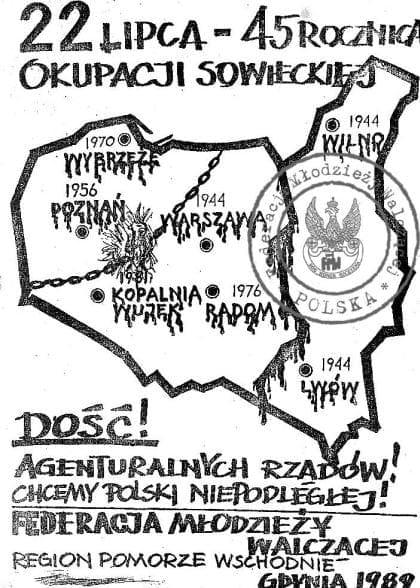 Okolicznościowy plakat Federacji Młodzieży Walczącej z 1989 roku