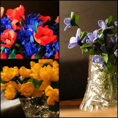 padało..a ja nie nudziłam się..pozdrawiam oglądających..:) #bibułkowe #kwiaty #kaczeńce #chabry #maki #niezapominajki