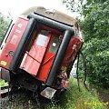 Wykolejony wagon pirwszej klasy. #kolej #wypadek #katastrofa #Piła #PKP #lato