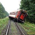 Wykolejeniu prócz lokomotywy uległ pierwszy wagon. #kolej #wypadek #katastrofa #Piła #PKP #lato